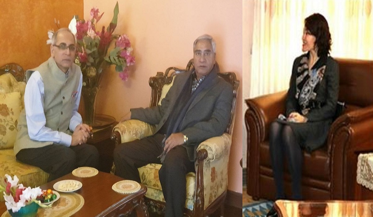 पुर्व प्रम एबम कांग्रेस सभापति शेरबहादुर देउबा, नेपालका लागि भारतीय राजदुत बिनय मोहन क्वात्रा र चिनियाँ राजदुत होउ यांग्छी