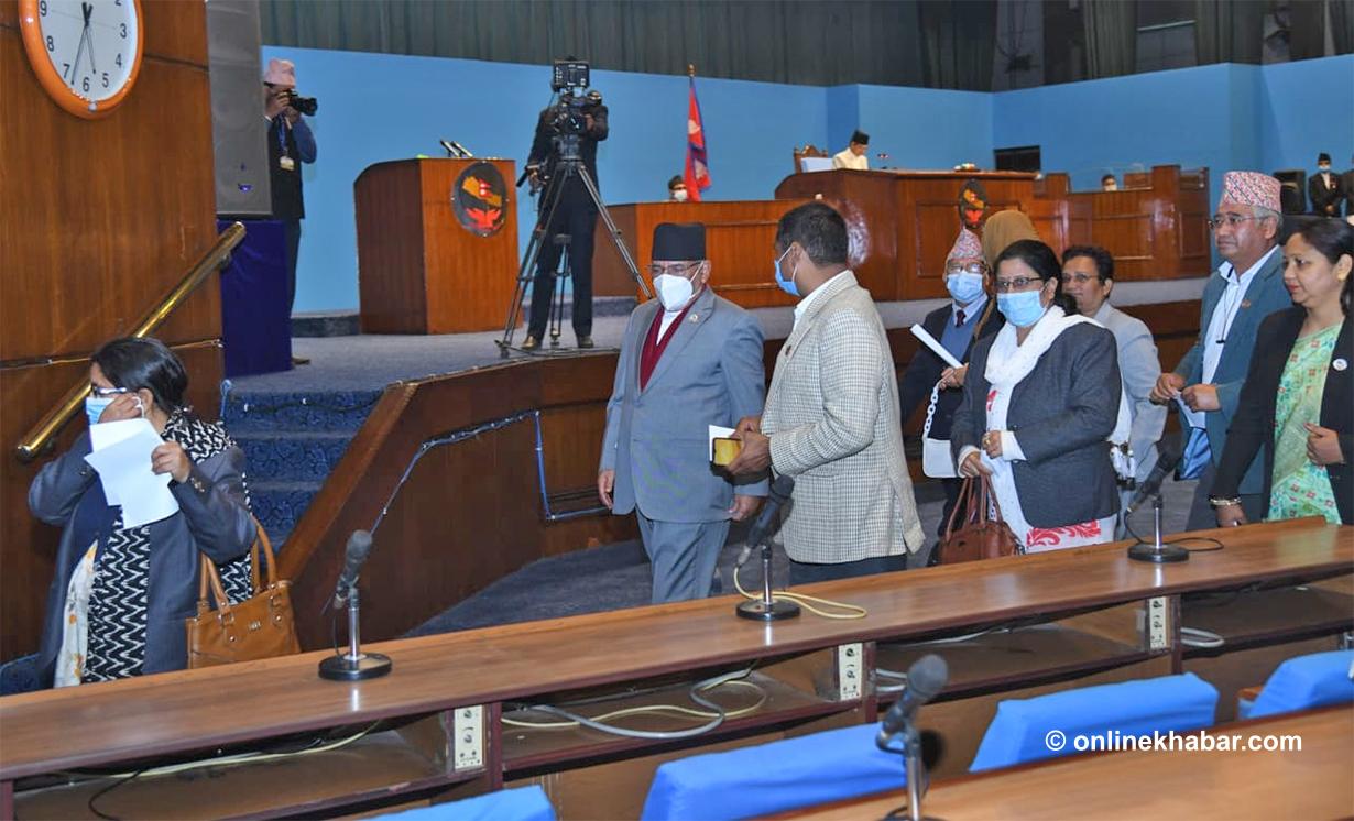 निवर्तमान डबल नेकपाको दाहाल-नेपाल समुहद्वारा संसद बैठक बहिष्कार